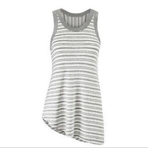 Cabi Side Out Gray & White Asymmetrical Tee Sz Lg